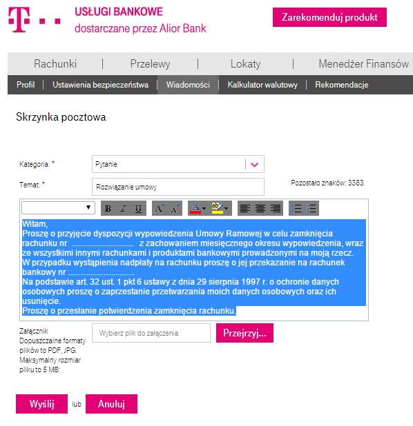 Jak zamknąć konto wT-Mobile - Wypowiedzenie umowy wt-mobile uslugi bankowe