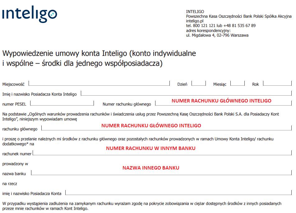 Wzór wypowiedzenia Inteligo