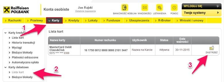 Jak zastrzec kartę wRaiffeisen Polbank