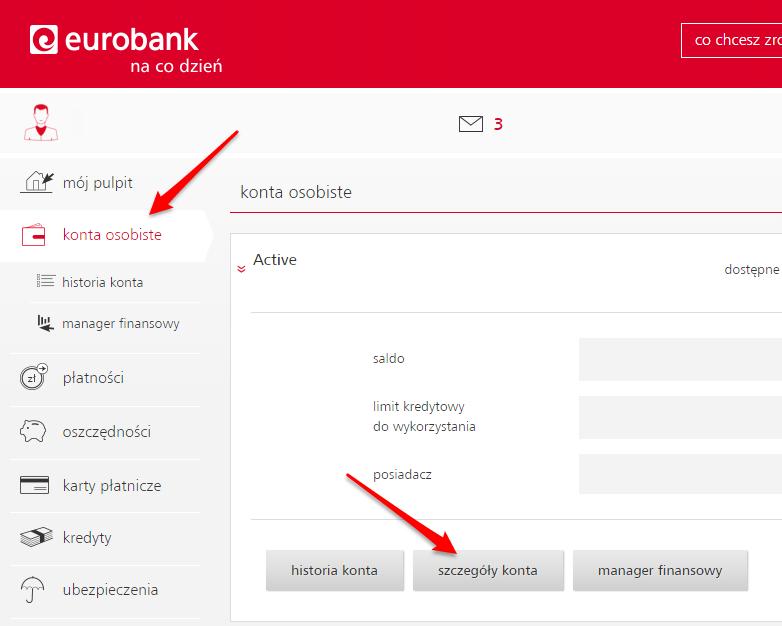 Zamkniecie konta Eurobank - Wybierz szczegoly konta
