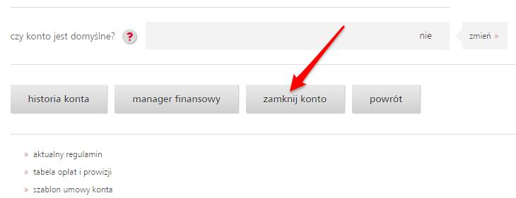 Jak zamknąć konto wEurobanku - kliknij Zamknij Konto