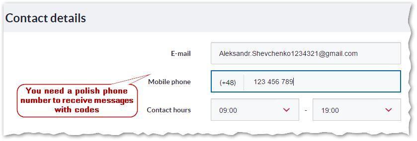 3. Current account application - Contact details - Bank Millennium