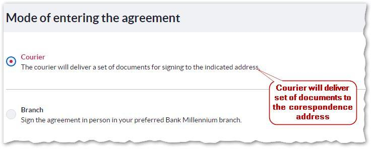6. Current account application - Mode of entering the agreement - Bank Millennium