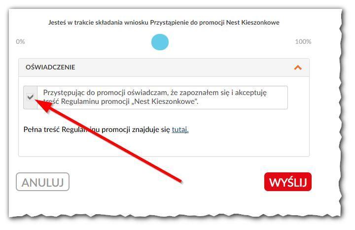 potwierdzenie wniosku opremię wNest Bank - promocja Nest Kieszonkowe