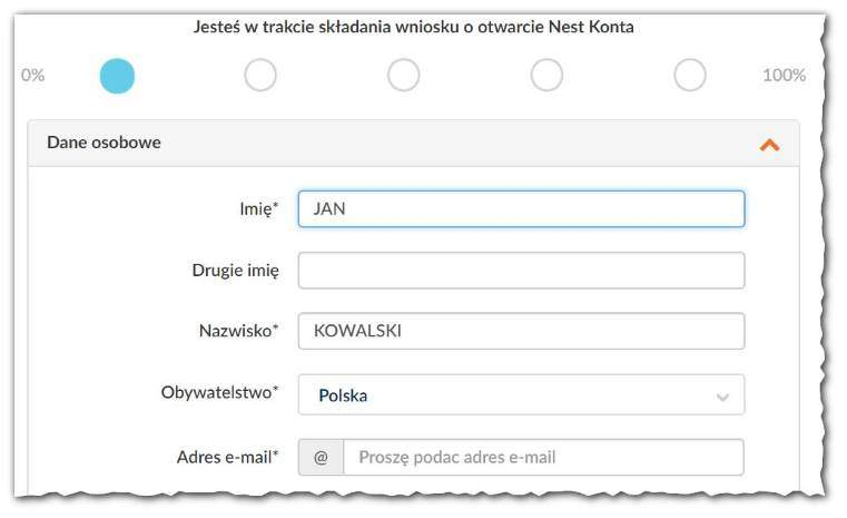 jak załozyć konto wnest banku - formularz