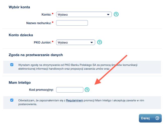 Gdzie wpisac kod polecenia Inteligo